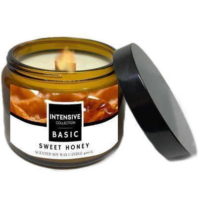 Intensive Collection Amber Basic large natural soy wax scented candle wooden wick 400 g - Sweet Honey